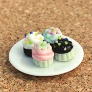 Fairy Garden Cupcakes On Plate (Fiddlehead)