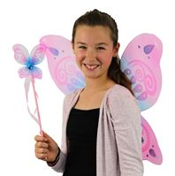 butterfly wings in pink with blue highlights and matching wand