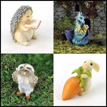 fairies, dragons, unicorns and other fairy figurines for miniature garderns by Fiddlehead