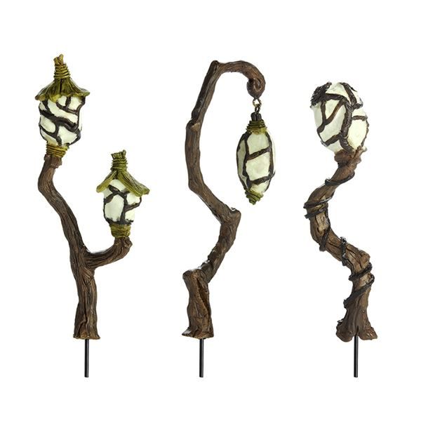 Three spooky looking swamp lanterns for a fairy garden by Fiddlehead USA.