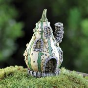 6cm high miniature fairy garden house in the shape of a striped gourd, complete with detailed features.
